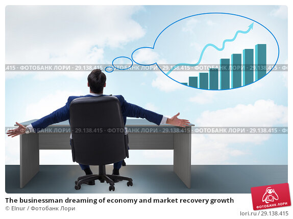Купить «The businessman dreaming of economy and market recovery growth», фото № 29138415, снято 15 октября 2018 г. (c) Elnur / Фотобанк Лори