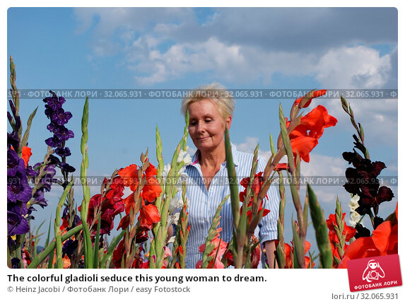 The colorful gladioli seduce this young woman to dream. Стоковое фото, фотограф Heinz Jacobi / easy Fotostock / Фотобанк Лори