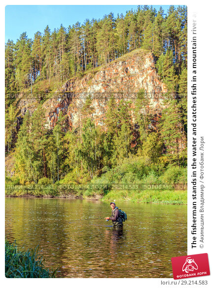 Купить «The fisherman stands in the water and catches fish in a mountain river against the background of a rock covered with forest», фото № 29214583, снято 8 сентября 2017 г. (c) Акиньшин Владимир / Фотобанк Лори