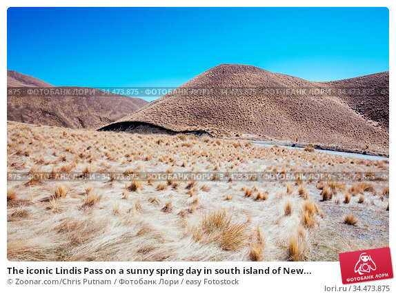 The iconic Lindis Pass on a sunny spring day in south island of New... Стоковое фото, фотограф Zoonar.com/Chris Putnam / easy Fotostock / Фотобанк Лори