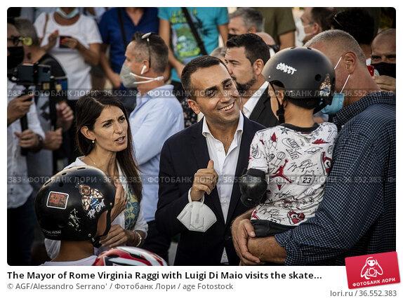 The Mayor of Rome Virginia Raggi with Luigi Di Maio visits the skate... Редакционное фото, фотограф AGF/Alessandro Serrano' / age Fotostock / Фотобанк Лори