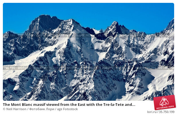 The Mont Blanc massif viewed from the East with the Tre-la-Tete and... Стоковое фото, фотограф Neil Harrison / age Fotostock / Фотобанк Лори