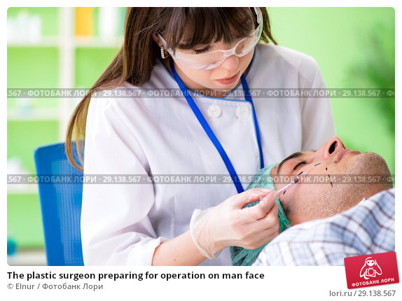 Купить «The plastic surgeon preparing for operation on man face», фото № 29138567, снято 6 июня 2018 г. (c) Elnur / Фотобанк Лори