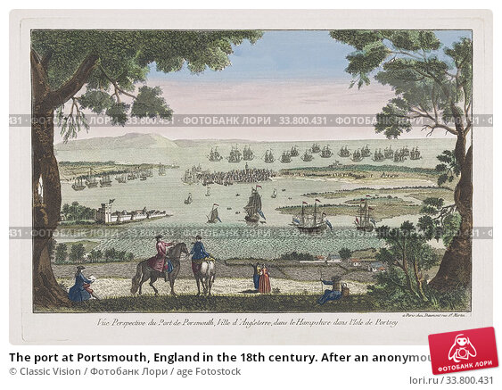 The port at Portsmouth, England in the 18th century. After an anonymous artist, published by Jean-Francois Daumont, Paris. (2019 год). Редакционное фото, фотограф Classic Vision / age Fotostock / Фотобанк Лори