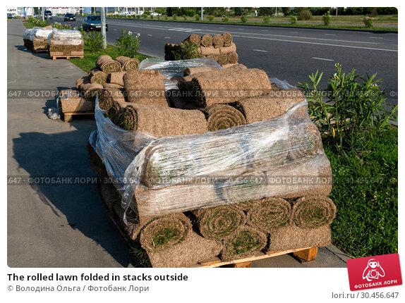 The rolled lawn folded in stacks outside. Стоковое фото, фотограф Володина Ольга / Фотобанк Лори