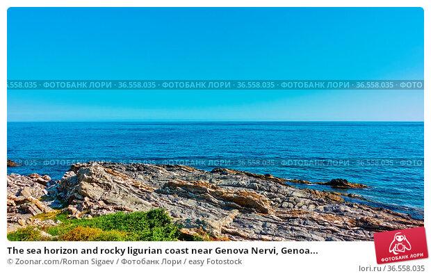 The sea horizon and rocky ligurian coast near Genova Nervi, Genoa... Стоковое фото, фотограф Zoonar.com/Roman Sigaev / easy Fotostock / Фотобанк Лори