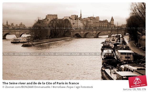 The Seine river and ile de la Cite of Paris in france. Стоковое фото, фотограф Zoonar.com/BONZAMI Emmanuelle / age Fotostock / Фотобанк Лори