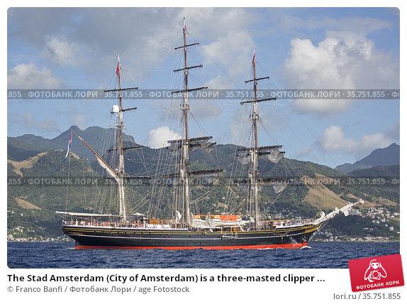 The Stad Amsterdam (City of Amsterdam) is a three-masted clipper ... Стоковое фото, фотограф Franco Banfi / age Fotostock / Фотобанк Лори