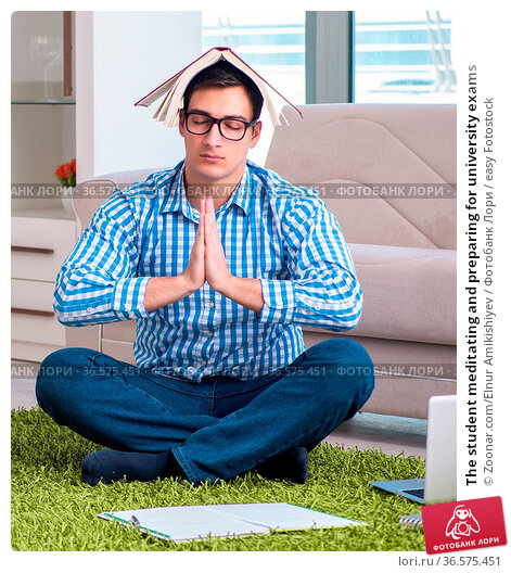 The student meditating and preparing for university exams. Стоковое фото, фотограф Zoonar.com/Elnur Amikishiyev / easy Fotostock / Фотобанк Лори