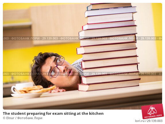 Купить «The student preparing for exam sitting at the kitchen», фото № 29139003, снято 14 июня 2018 г. (c) Elnur / Фотобанк Лори