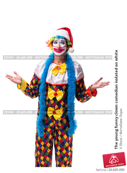 Купить «The young funny clown comedian isolated on white», фото № 29605099, снято 20 июля 2018 г. (c) Elnur / Фотобанк Лори