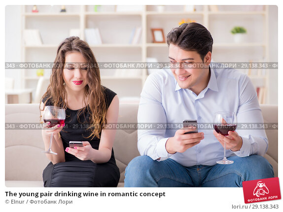 Купить «The young pair drinking wine in romantic concept», фото № 29138343, снято 1 апреля 2017 г. (c) Elnur / Фотобанк Лори