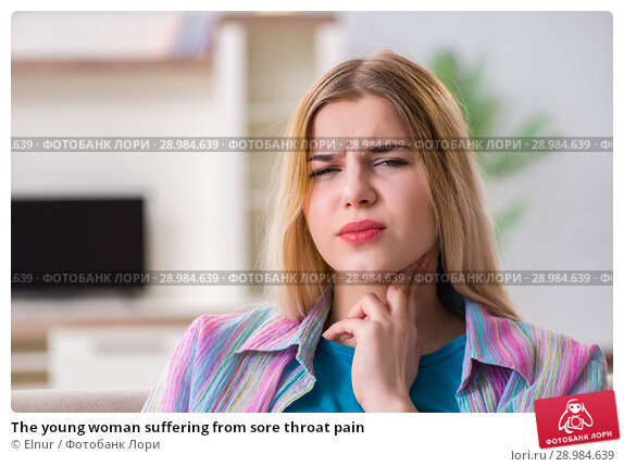 Купить «The young woman suffering from sore throat pain», фото № 28984639, снято 30 марта 2018 г. (c) Elnur / Фотобанк Лори