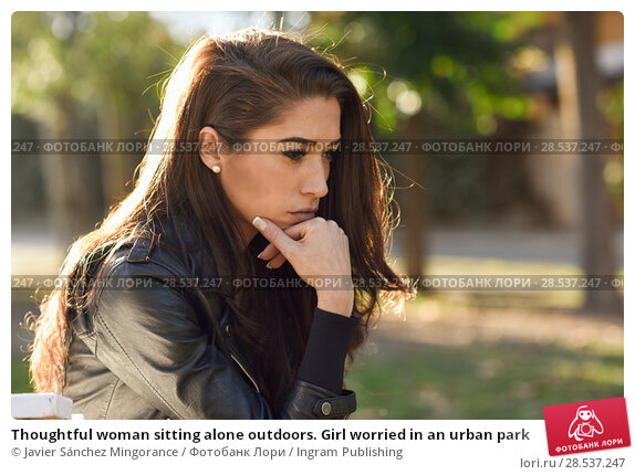 Купить «Thoughtful woman sitting alone outdoors. Girl worried in an urban park», фото № 28537247, снято 12 января 2016 г. (c) Ingram Publishing / Фотобанк Лори