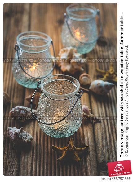Three vintage lantern with sea shells on wooden table. Summer table... Стоковое фото, фотограф Zoonar.com/Ingrid Balabanova / easy Fotostock / Фотобанк Лори