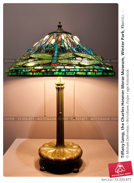 Tiffany lamp, the Charles Hosmer Morse Museum, Winter Park, Florida, United States of America, North America. Стоковое фото, фотограф Michael DeFreitas / age Fotostock / Фотобанк Лори