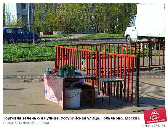 Торговля зеленью на улице. Уссурийская улица, Гольяново, Москва, эксклюзивное фото № 265151, снято 28 апреля 2008 г. (c) lana1501 / Фотобанк Лори