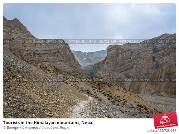 Купить «Tourists in the Himalayan mountains, Nepal», фото № 28728159, снято 6 апреля 2018 г. (c) Валерий Смирнов / Фотобанк Лори