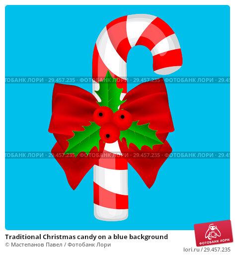 Купить «Traditional Christmas candy on a blue background», иллюстрация № 29457235 (c) Мастепанов Павел / Фотобанк Лори