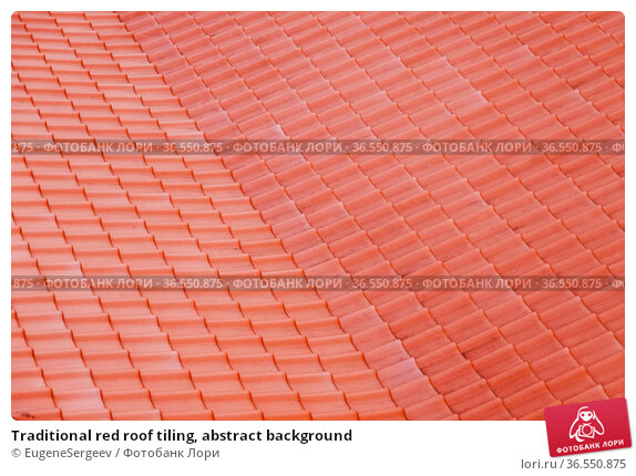 Traditional red roof tiling, abstract background. Стоковое фото, фотограф EugeneSergeev / Фотобанк Лори