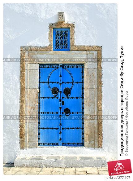 Традиционная дверь в городке Сиди-бу-Саид, Тунис, фото № 277107, снято 8 сентября 2007 г. (c) Вероника Галкина / Фотобанк Лори