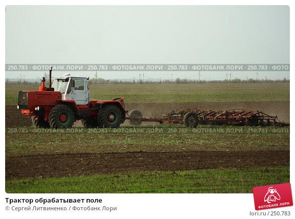 Купить «Трактор обрабатывает поле», фото № 250783, снято 13 апреля 2008 г. (c) Сергей Литвиненко / Фотобанк Лори