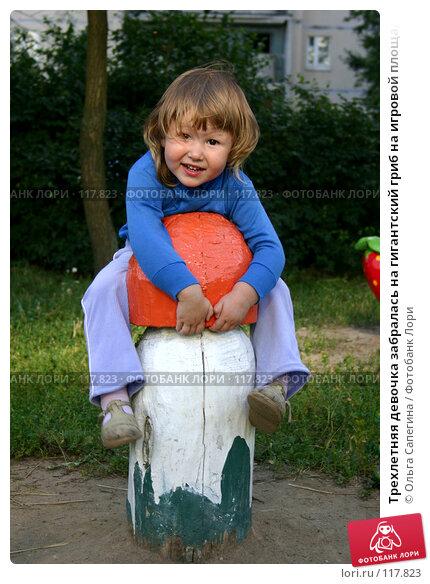 Трехлетняя девочка забралась на гигантский гриб на игровой площадке, фото № 117823, снято 5 августа 2006 г. (c) Ольга Сапегина / Фотобанк Лори