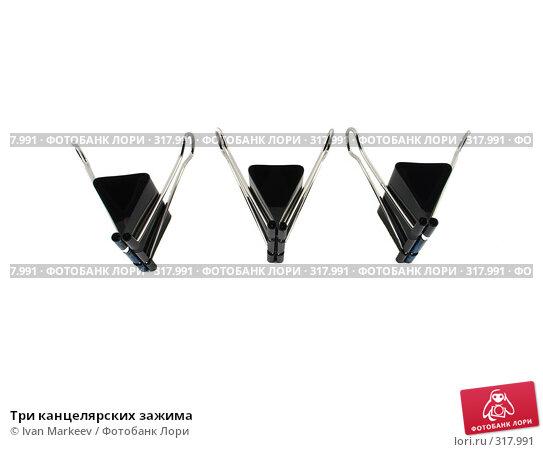 Купить «Три канцелярских зажима», фото № 317991, снято 10 июня 2008 г. (c) Ivan Markeev / Фотобанк Лори