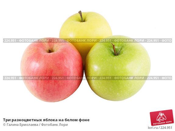 Купить «Три разноцветных яблока на белом фоне», фото № 224951, снято 16 марта 2008 г. (c) Галина Ермолаева / Фотобанк Лори