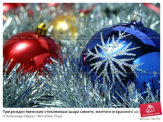 Три рождественских стеклянных шара синего, желтого и красного цвета с узором на фоне новогодней мишуры, фото № 14151, снято 24 ноября 2006 г. (c) Александр Паррус / Фотобанк Лори