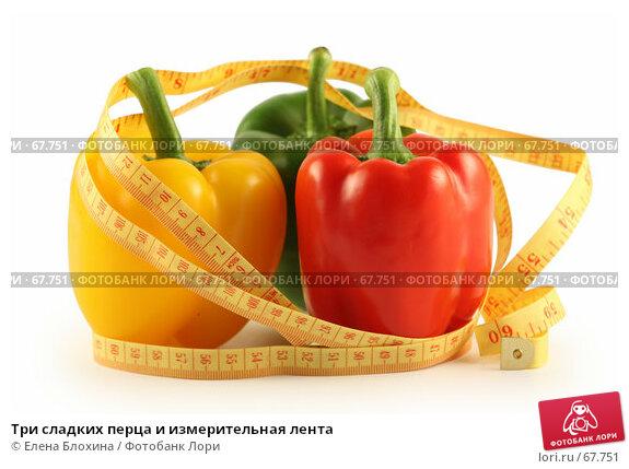 Три сладких перца и измерительная лента, фото № 67751, снято 24 июля 2007 г. (c) Елена Блохина / Фотобанк Лори