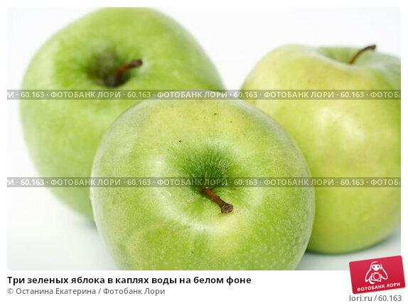 Три зеленых яблока в каплях воды на белом фоне, фото № 60163, снято 16 марта 2007 г. (c) Останина Екатерина / Фотобанк Лори