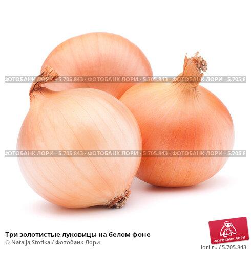 Купить «Три золотистые луковицы на белом фоне», фото № 5705843, снято 15 февраля 2013 г. (c) Natalja Stotika / Фотобанк Лори