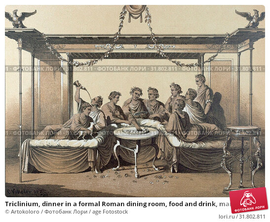 Купить «Triclinium, dinner in a formal Roman dining room, food and drink, man, interior, couch, chaise longue, klinai, feasting, roman domestic life, triclinia, 19th century engraving, liszt gourmet archive», фото № 31802811, снято 20 мая 2020 г. (c) age Fotostock / Фотобанк Лори