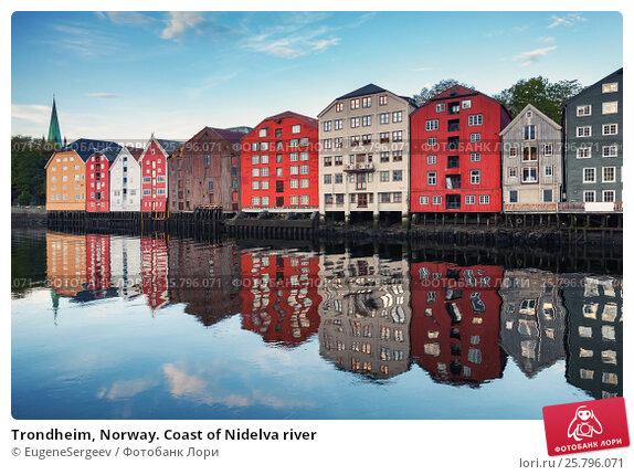Trondheim, Norway. Coast of Nidelva river, фото № 25796071, снято 18 октября 2016 г. (c) Евгений Сергеев / Фотобанк Лори