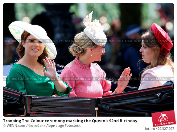 Купить «Trooping The Colour ceremony marking the Queen's 92nd Birthday Featuring: Princess Eugenie, Princess Beatrice, Sophie, Countess of Wessex Where: London...», фото № 29327927, снято 9 июня 2018 г. (c) age Fotostock / Фотобанк Лори