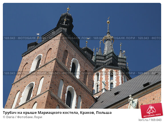 Трубач на крыше Мариацкого костела, Краков, Польша, фото № 169043, снято 27 марта 2017 г. (c) Daria / Фотобанк Лори