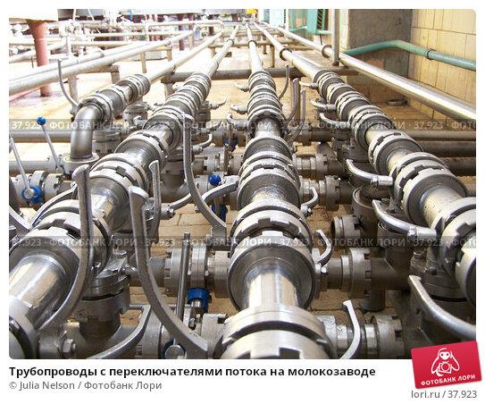 Трубопроводы с переключателями потока на молокозаводе, фото № 37923, снято 12 июня 2004 г. (c) Julia Nelson / Фотобанк Лори
