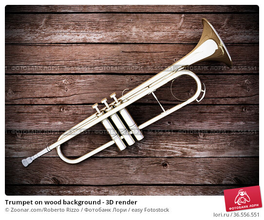 Trumpet on wood background - 3D render. Стоковое фото, фотограф Zoonar.com/Roberto Rizzo / easy Fotostock / Фотобанк Лори