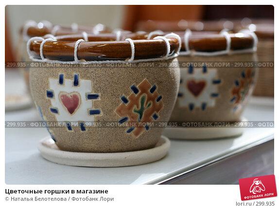 Купить «Цветочные горшки в магазине», фото № 299935, снято 1 мая 2008 г. (c) Наталья Белотелова / Фотобанк Лори