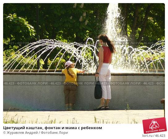 Цветущий каштан, фонтан и мама с ребенком, эксклюзивное фото № 46423, снято 24 мая 2007 г. (c) Журавлев Андрей / Фотобанк Лори