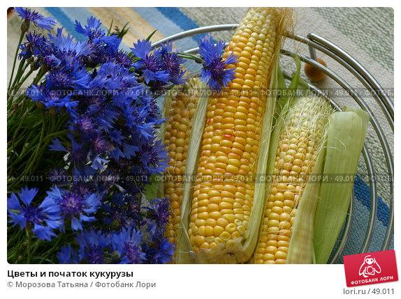 Купить «Цветы и початок кукурузы», фото № 49011, снято 13 сентября 2006 г. (c) Морозова Татьяна / Фотобанк Лори