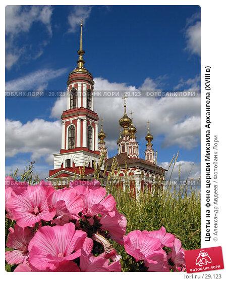 Цветы на фоне церкви Михаила Архангела (XVIII в), фото № 29123, снято 22 июля 2006 г. (c) Александр Авдеев / Фотобанк Лори