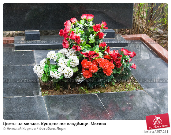 Цветы на могиле. Кунцевское кладбище. Москва, фото № 257211, снято 18 марта 2008 г. (c) Николай Коржов / Фотобанк Лори