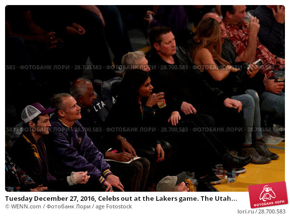 Купить «Tuesday December 27, 2016, Celebs out at the Lakers game. The Utah Jazz defeated the Los Angeles Lakers by the final score of 102-100 at Staples Center...», фото № 28700583, снято 27 декабря 2016 г. (c) age Fotostock / Фотобанк Лори