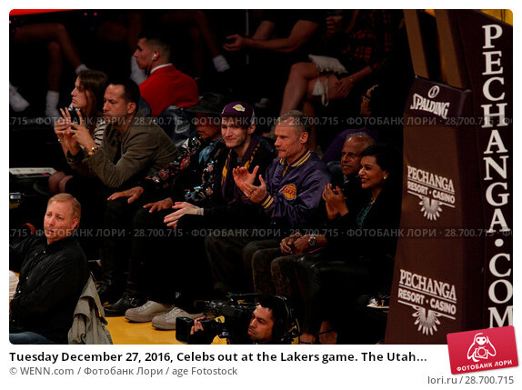 Купить «Tuesday December 27, 2016, Celebs out at the Lakers game. The Utah Jazz defeated the Los Angeles Lakers by the final score of 102-100 at Staples Center...», фото № 28700715, снято 27 декабря 2016 г. (c) age Fotostock / Фотобанк Лори