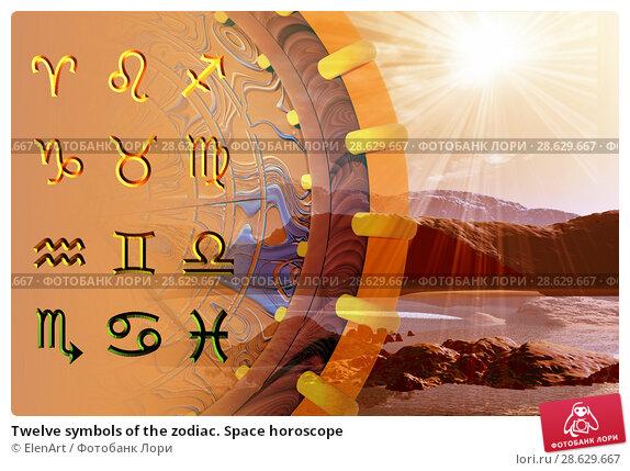 Купить «Twelve symbols of the zodiac. Space horoscope», иллюстрация № 28629667 (c) ElenArt / Фотобанк Лори