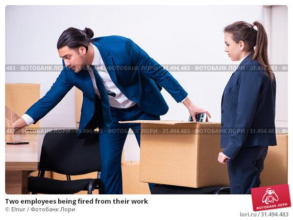 Купить «Two employees being fired from their work», фото № 31494483, снято 1 апреля 2019 г. (c) Elnur / Фотобанк Лори