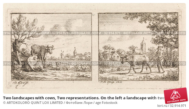Two landscapes with cows, Two representations. On the left a landscape with two cows and a sheep. In the background a village. On the right a landscape... Редакционное фото, фотограф ARTOKOLORO QUINT LOX LIMITED / age Fotostock / Фотобанк Лори