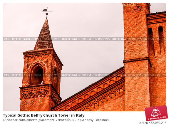 Typical Gothic Belfry Church Tower in Italy. Стоковое фото, фотограф Zoonar.com/alberto giacomazzi / easy Fotostock / Фотобанк Лори